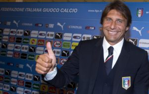 Antonio Conte gives the ok sign after delivering a press conference on occasion of his official presentation as new Italian national soccer team head coach. Rome, 19 August 2014. Conte took over the Italian national team after Azzurris early elimination from the 2014 FIFA Soccer World Cup in Brazil replacing Cesare Prandelli. ANSA/CLAUDIO PERI
