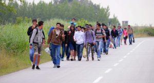 immigrati incolonnati sulla strada