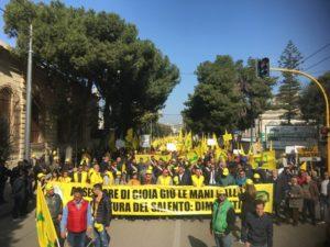 Xylella: Corteo Coldiretti a Lecce